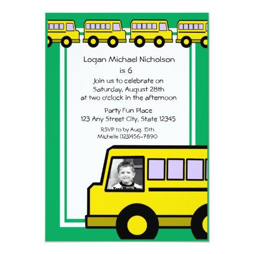 Foto do ônibus de escola convite 12.7 x 17.78cm