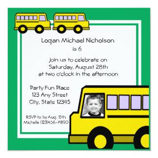 Foto do ônibus de escola convite quadrado 13.35 x 13.35cm