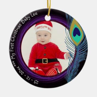FOTO do ornamento do pavão do Natal do bebê