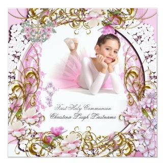 Foto do ouro do rosa do laço do comunhão convite quadrado 13.35 x 13.35cm