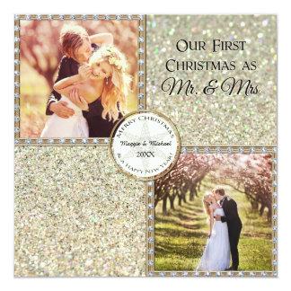 Foto do Sr. & da Sra. Shimmer Brilho Vista Natal Convite Quadrado 13.35 X 13.35cm