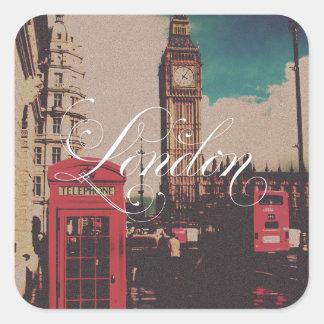 Foto do vintage do marco de Londres Adesivo Quadrado