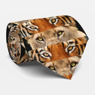 Foto dos olhos do tigre e do leão gravata