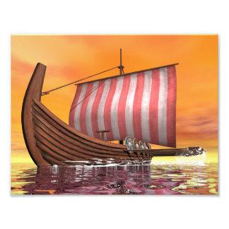 Foto Drakkar ou navio de viquingue - 3D rendem