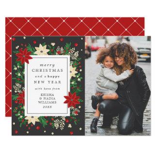 Foto elegante do Natal do visco & da poinsétia Convite 12.7 X 17.78cm