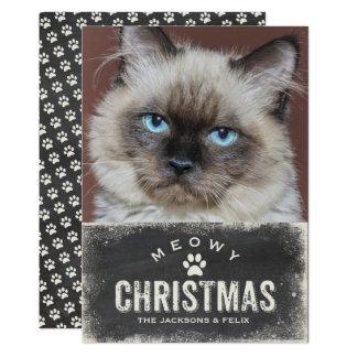 Foto engraçada do gato do feriado do Natal de Convite 12.7 X 17.78cm