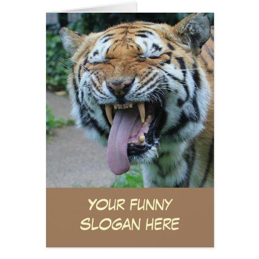 Foto engraçada do tigre para personalizar-se cartão
