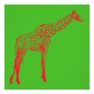 Foto Estêncil vermelho do girafa