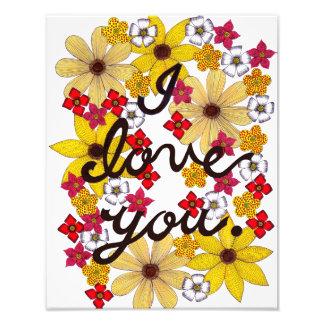 Foto Eu te amo tipografia com flores amarelas
