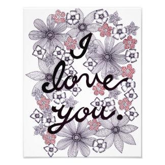 Foto Eu te amo tipografia floral com cores mínimas