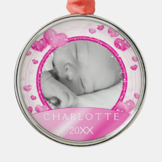 Foto feita sob encomenda do rosa   do bebé ornamento redondo cor prata