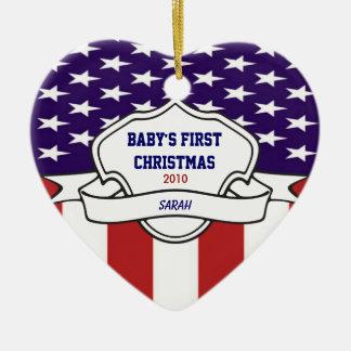 Foto feita sob encomenda Natal patriótico dos Ornamento De Cerâmica Coração