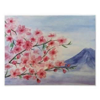 Foto Flor da árvore de Sakura e montanha de Fuji