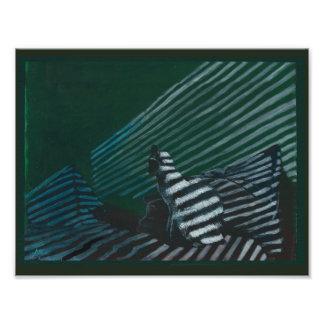 Foto Gato do impressão da arte na cama em iluminação