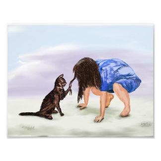 Foto Gato e criança da pintura do impressão da arte