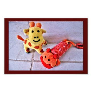 Foto Girafa e hipopótamo felizes