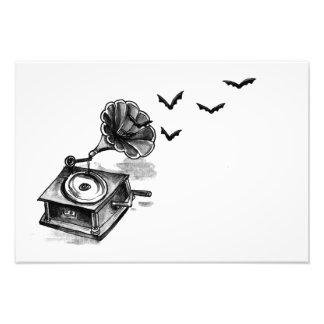 Foto Gramofone e impressão da arte dos bastões