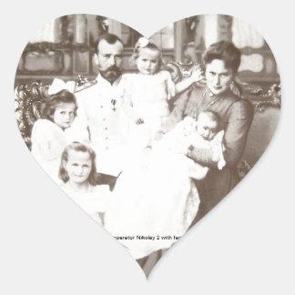 """Foto """"Imperator Nikolay 2"""" do russo do vintage Adesivo Coração"""