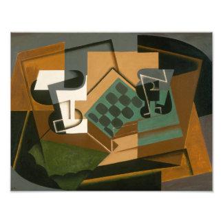 Foto Juan Gris - tabuleiro de xadrez, vidro, e prato