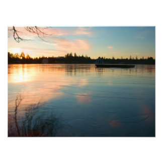 Foto Lago congelado no por do sol