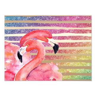 Foto Listras do ouro do brilho dos flamingos da