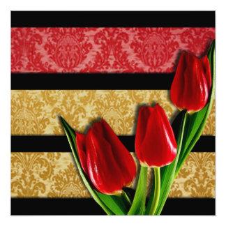 Foto Listras & tulipas vermelhas do preto do damasco do