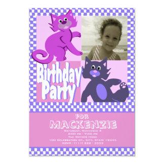 Foto louca do aniversário dos gatos convite 12.7 x 17.78cm