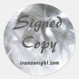 Foto metálica e cópia assinada cinzas adesivo