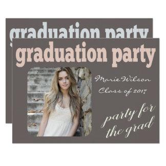 Foto moderna da festa de formatura da tipografia convite 12.7 x 17.78cm