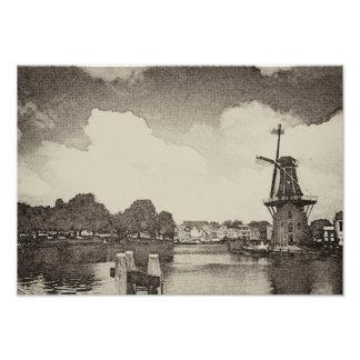 Foto Moinho de vento preto, Haarlem, Países Baixos