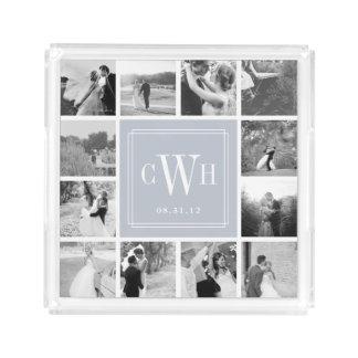 Foto & monograma feitos sob encomenda do casamento bandeja de acrílico