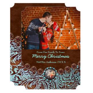 Foto ocidental do Natal do país de couro de Convite 12.7 X 17.78cm