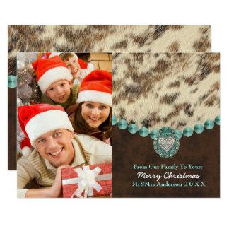 Foto ocidental do Natal do país de couro do Convite 12.7 X 17.78cm