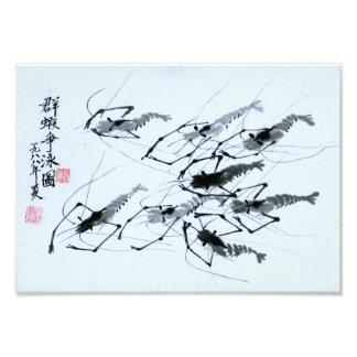 "Foto ""Oito camarões"" na pintura chinesa da tinta"