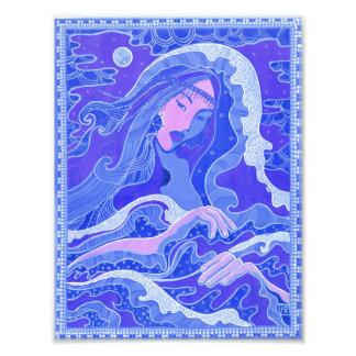 Foto Onda, sereia, menina da arte da fantasia, azul &