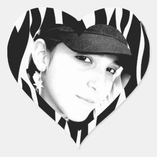 Foto personalizada da zebra preto listrado adesivos em forma de corações