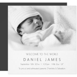 Foto personalizada do bebê anúncio moderno convite quadrado 13.35 x 13.35cm
