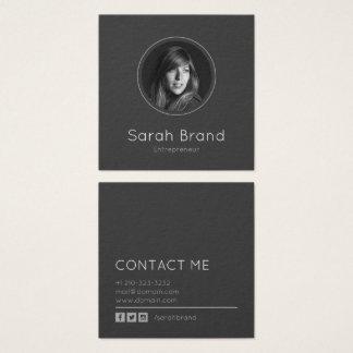 Foto pessoal escura elegante cartão de visitas quadrado