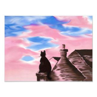 Foto Pintura digital do impressão da arte - gato no céu