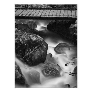 Foto Ponte de madeira e água movente na floresta