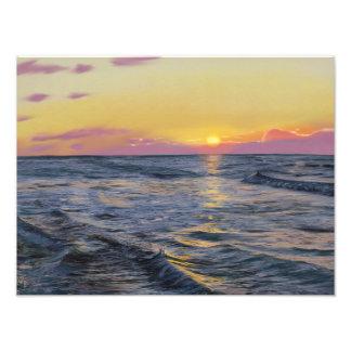 Foto Por do sol no mar - impressão da arte