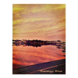 Foto Por do sol no rio Mississípi