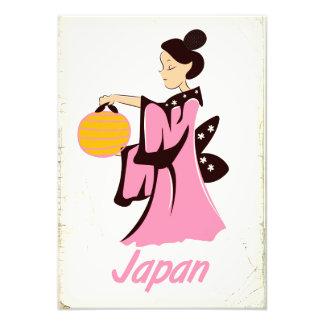Foto Poster das viagens vintage de Japão da menina de