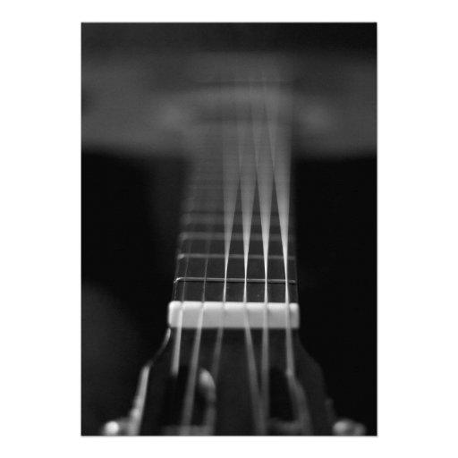 Foto preta da guitarra acústica convites personalizado