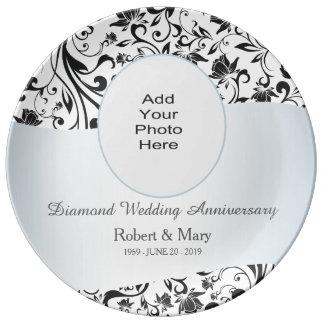 Foto preta do aniversário de casamento do diamante pratos de porcelana