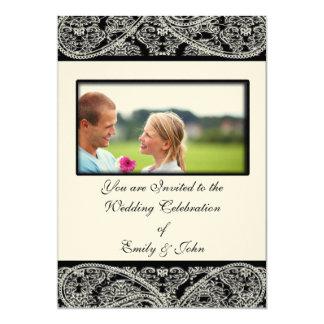 Foto preta do convite do casamento tema damasco do