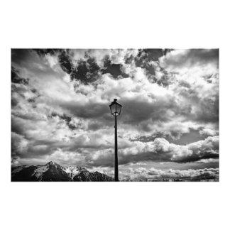 Foto preto e branco da cena das montanhas impressão de foto