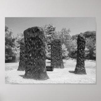 Foto preto e branco da escultura pôster