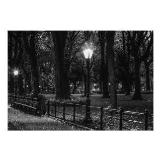 Foto preto e branco da paisagem do Central Park Impressão De Foto