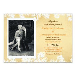 Foto pura da elegância preto e branco convite 12.7 x 17.78cm